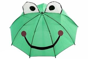 3D Frog Green Molded Handle Umbrella