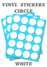 50 Round White Circles - Self Adhesive Waterproof Vinyl Labels  size 20mm