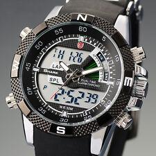 Shark Mens LCD Digital Quartz Wrist Watch Stopwatch Date Sport Army Black Rubber