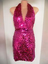 Dana Mathers Fuschia Hot Pink Sequin Party Club Mini Dress D1226 New Size 4