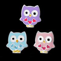 925 Sterling Silver Owl Baby Bird Heart Pink Blue Purple Stud Earrings Children