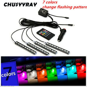 Car SUV Interior Trim Decorative Glow Neon Lamp Red LED Atmosphere Light Strips