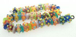 OliveStuart Handmade Lampwork Beads 49 bright tiny dots brights