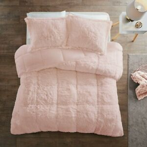 ULTRA SOFT SHAGGY PINK FAUX FUR COMFORTER SET : BLUSH MINK SHAG PLUSH BEDDING