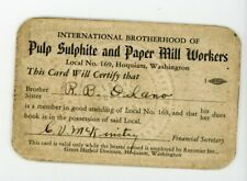 International Brotherhood Pulp Sulphite Paper Mill workers Union card vintage