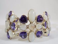 Huge Chunky Sterling Silver Moonstone & Heart Shape Amethyst Toggle Bracelet