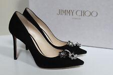 sz 7 / 37 Jimmy Choo Black Suede Jasmine Crystal Brooch Embellished Pump Shoes
