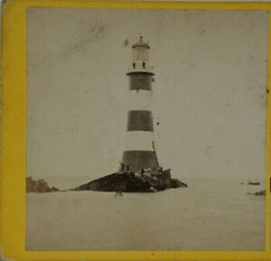 Rare Antique Stereoview, 3rd Eddystone Lighthouse, Smeatons, Original Location