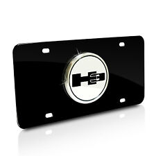 Hummer H3 Logo on Black Stainless Steel License Plate with Lifetime Warranty