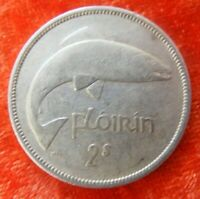 Irish 1939 Two Shilling Florin Silver Coin Leaping Salmon Old Ireland Vintage