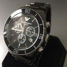 Mens Emporio Armani Designer Watch AR1421 CERAMICA Black Chronograph Genuine