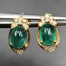 VS2 Diamond Stud Earrings Solid 18K Yellow Gold 1.85Ct Natural Cabochon Emerald