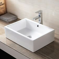 "20"" Rectangle Vessel Bathroom Sink Ceramic Porcelain Basin with Pop Up Drain"