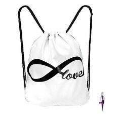 Turnbeutel Rucksack Gymsack Beutel Gym bag Sportbeutel weiss neu endless Love
