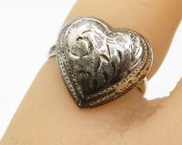 925 Sterling Silver - Vintage Hand Engraved Heart Cocktail Ring Sz 4 - R6009