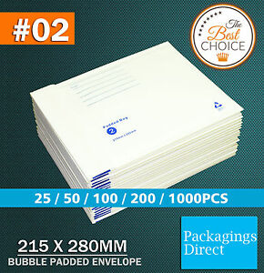 Bubble Mailer 02 215 x 280MM Padded Bag Envelope White 50 / 100 / 200