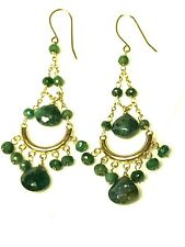 "NATURAL EMERALD CHANDELIER 14K SOLID GOLD FINE EARRINGS, 2.5"" long, Estate Find"