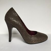 Orlando Viven Dark Brown Textured Spot Suede and Leather High Heel Court Shoes
