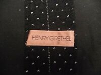 HENRY GRETHEL MEN'S NECK TIE 100% KNITTED WOOL BLACK & WHITE MADE IN ITALY 2.25""