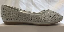 Spot On Girls' H2282 Silver Sparkly Ballet Flats UK size child 12 / EU 31 BNIB