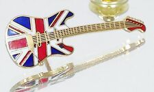 Pin Music Jewelry British Flag Nos Vintage Gold Plated Mini Start Guitar Lapel