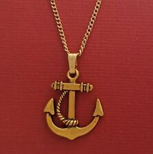 Anchor Necklace Charm Pendant and chain gold plated ship boat marine nautical