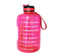 BuildLife Gallon Water Bottle with Motivational Time Marker, 1 Gallon- Pink