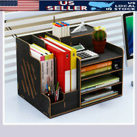 Wood Desk Organizer Desktop Storage Drawer Container Pen Box Office File Holder