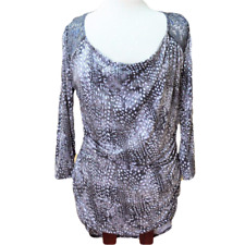 Maurices Womens L Top Fitted Knit Side Ruching Lace 3/4 Sleeve Marbled Geometric