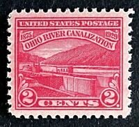 US Stamps, Scott #681 2c 1929 Ohio River Canalization XF/Superb M/NH. Beautiful!