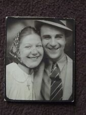 MAN WITH HAT & WOMAN WITH SCARF CHEEK TO CHEEK PHOTO BOOTH  VTG 1940's PHOTO