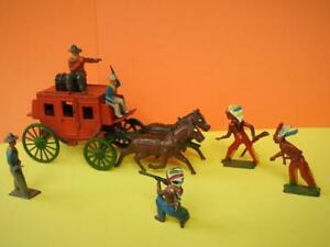 CRESCENT VINTAGE 1950s DIE-CAST, TIN & LEAD HORSE DRAWN STAGE COACH SET No.8990