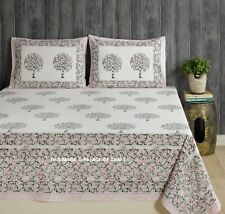 Hand Block Printed Cotton Bedspread Bedding Set With 2 PC Pillow Cover Bohemian
