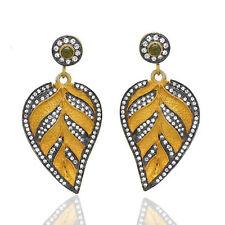 18k Gold Plated Green Onyx Gemstone CZ Designer Dangle Leaf Earrings Jewelry