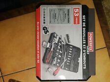 Coffret de douilles Powerfix 53 pièces Chrome Vanadium Acier & s2-Acier avec...