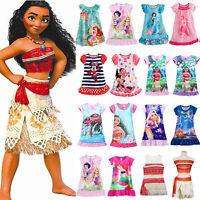 Girls Kids Disney Princess Moana Elsa Nightdress Pajamas Nightwear Nightie Dress