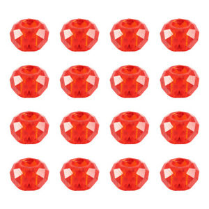 100pcs Glass European Large Hole Rondelle Beads Faceted Mini Loose Spacer 14x8mm