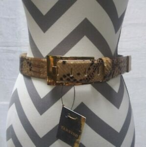 """Tarnish Leather Belt Snake Print Tan Black Small 1.5"""" Wide Made in Italy"""