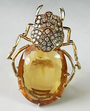 BIG RETRO 40s 18K GOLD 1.50CT DIAMOND 30CT IMPERIAL TOPAZ INSECT/BUG/BEETLE RING
