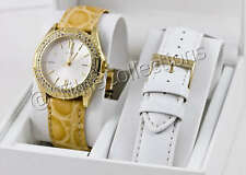 NEW GUESS SWAROVSKI GOLD LADY WATCH BOX SET I80319L1