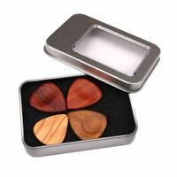 4Pcs Acoustic Smooth Wooden Heart Shape Storage Box Guitar Pick Set Accessories