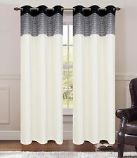 """1PC SOLID OFF WHITE FAUX SILK CURTAIN PANEL 55X84"""" WINDOW TREATMENT GROMMETS"""
