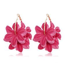 Fashion Women Flower Gold Big Round Hoop Dangle Earrings Ear Stud Jewelry Gift