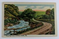 Postcard Linen Greetings from South Fork Pennsylvania River Road Nature