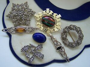 VINTAGE STERLING SILVER HEATHERGEMS AMBER MARCASITE LAPIS LAZULI ONYX BROOCH