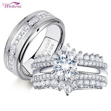 Tungsten Bands 925 Sterling Silver Cz 5-13 Wedding Ring Sets For Women and Men