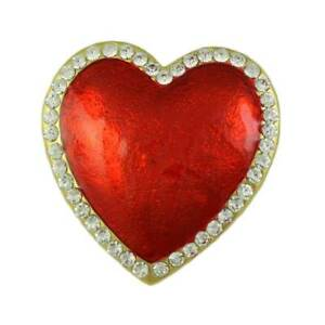 Large Red Enamel Heart Surrounded with Crystals Brooch Pin - PRH354