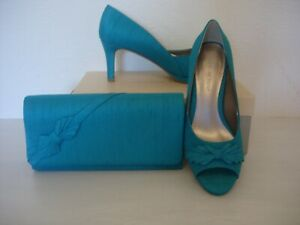 JACQUES VERT BOW TRIM SHOES & MATCHING BAG/GREEN  SIZE 3 -NEW