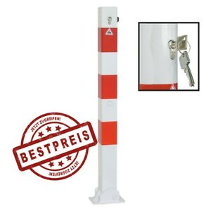 Absperrpfosten klappbar 70 x 70 mm weiß rot Profilzylinder Dübelbefestigung