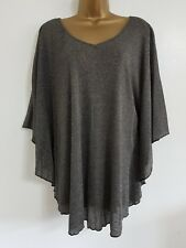 NEW Plus Size 16-32 Sparkly Silver Lurex Batwing Tunic Top Blouse Evening Party